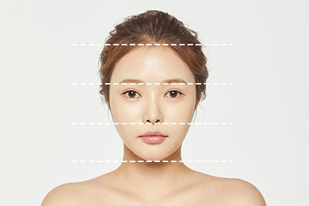 Younger face with the ideal proportions