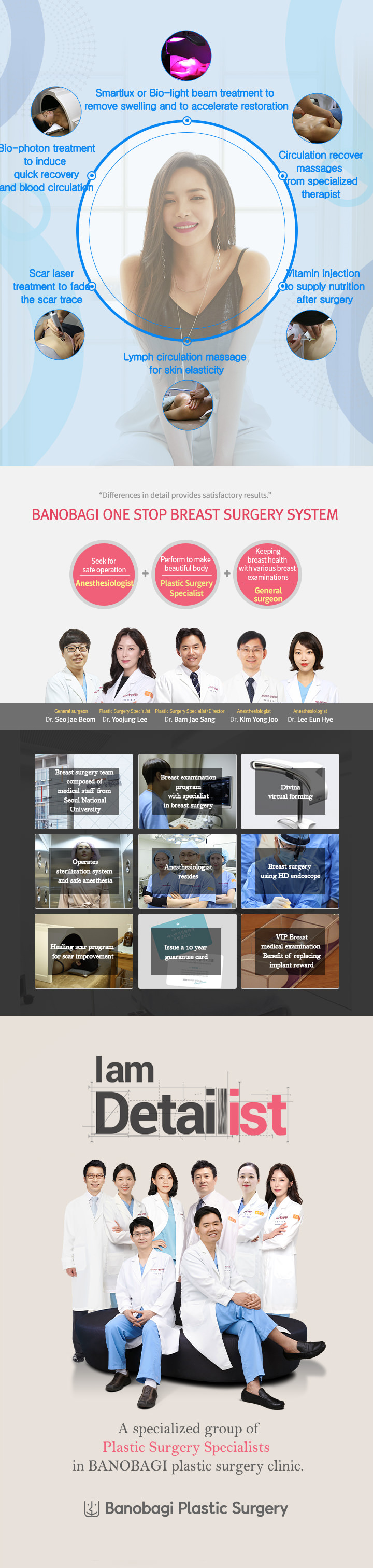A specialized group of Detailist Plastic Surgery Specialists from Seoul National University in BANOBAGI Plastic Surgery Clinic.