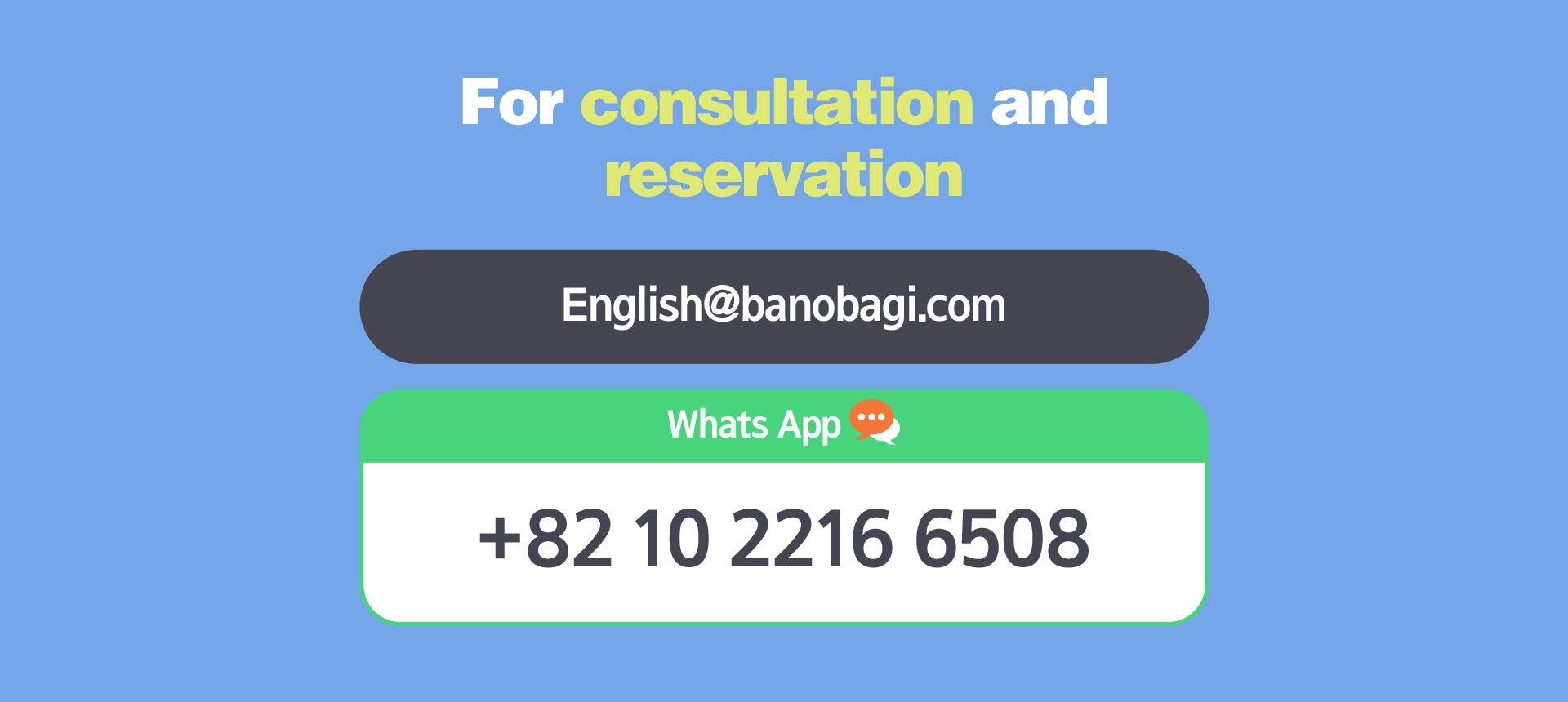 For consultation and reservation